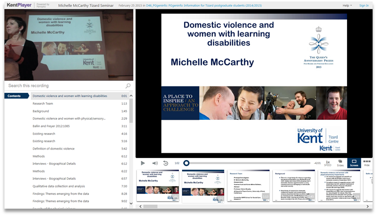 Domestic Violence and Women with Learning Disabilities - Panopto Video Knowledge Sharing Platform