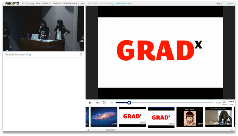 GradX - Panopto Video Presentation Platform