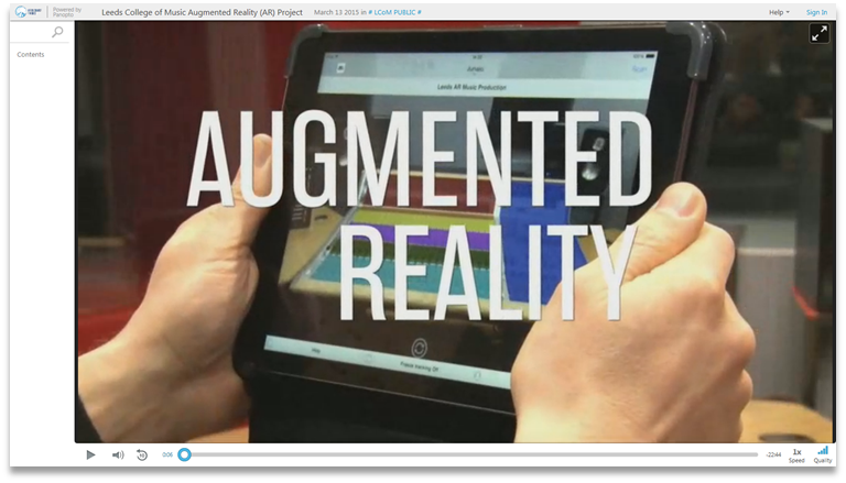LCM Augmented Reality Project - Panopto Video Presentation Software