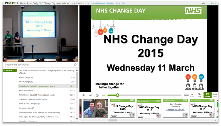 NHS Change Day - Panopto Video Presentation Software