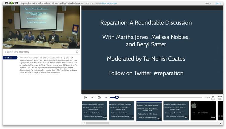 Reparations Roundtable Discussion - Panopto Video Presentation Platform