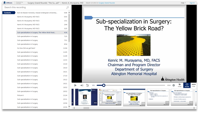 Sub-Specialization in Surgery - Panopto Video Presentation Platform