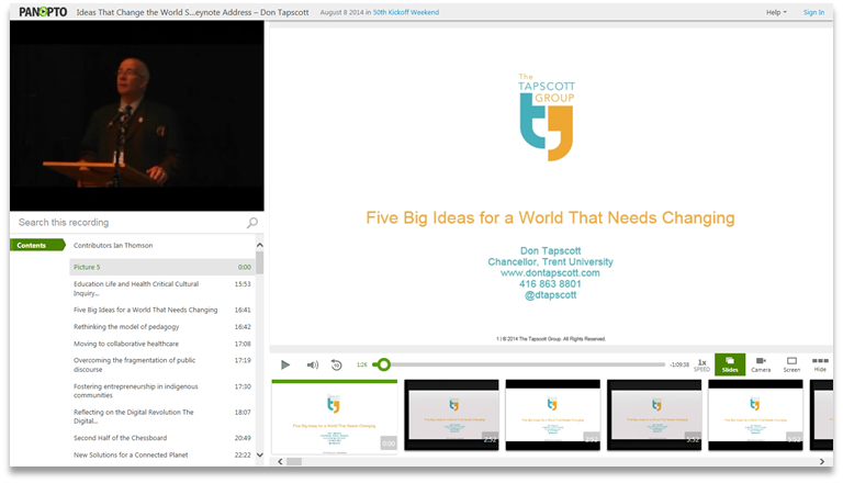 5 Ideas for A World That Needs Changing - Panopto Video Presentation Platform
