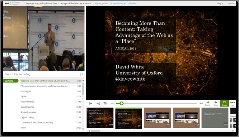 コンテンツ以上のものになる - 場所としてのウェブ - Panopto Video Presentation Platform