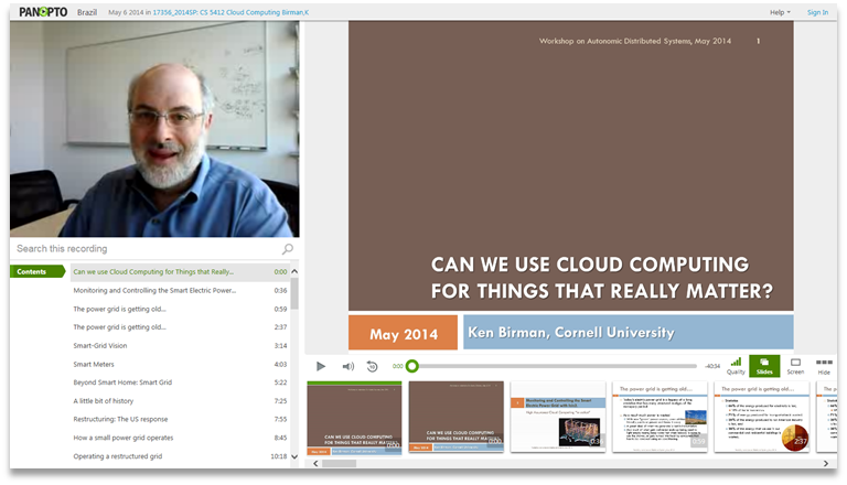 Can we use cloud computing for things that really matter - Panopto Video Presentation Platform