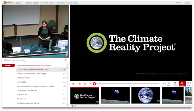 Climate Reality Project - Panopto Video Presentation Platform