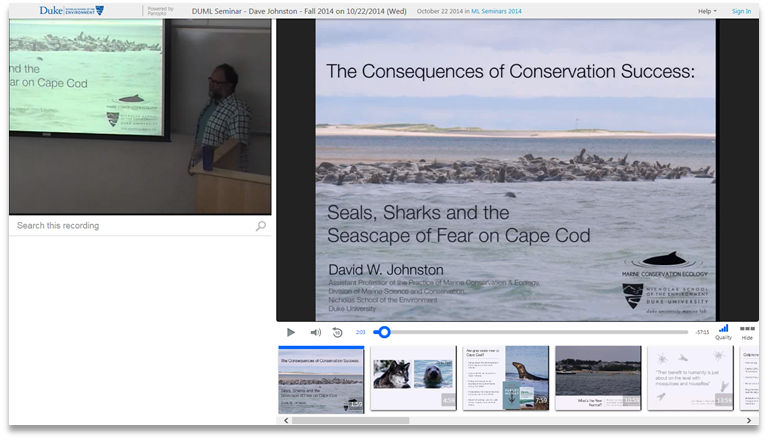 Consequences of Conservation Success - Panopto Video Presentation Platform