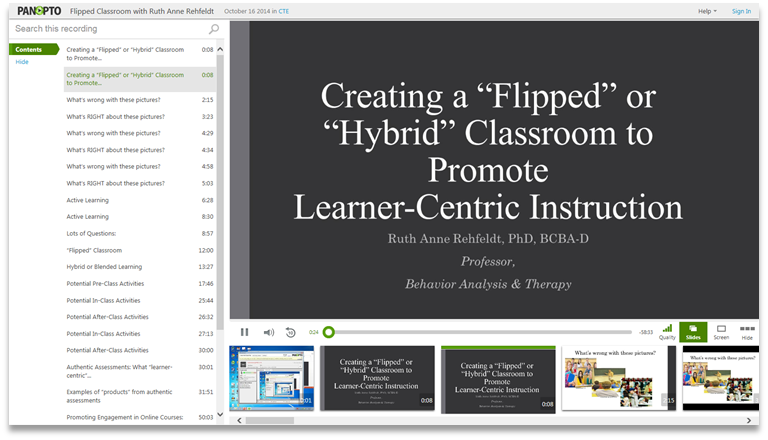 Creating a Flipped Classroom - Panopto Video Presentation Platform
