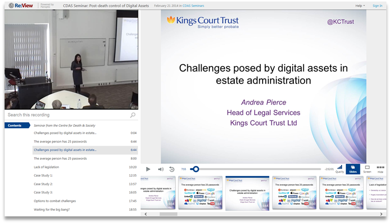 Digital Assets in Estate Administration - Panopto Video Presentation Platform