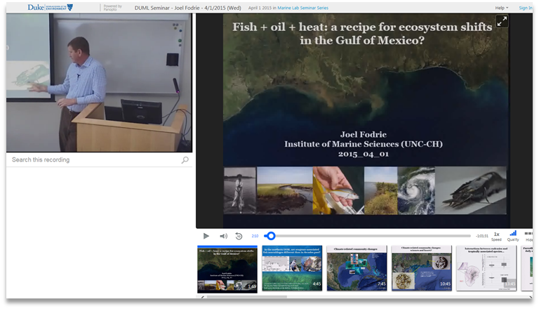 Ecosystem Shifts in the Gulf of Mexico - Panopto Video Presentation Software