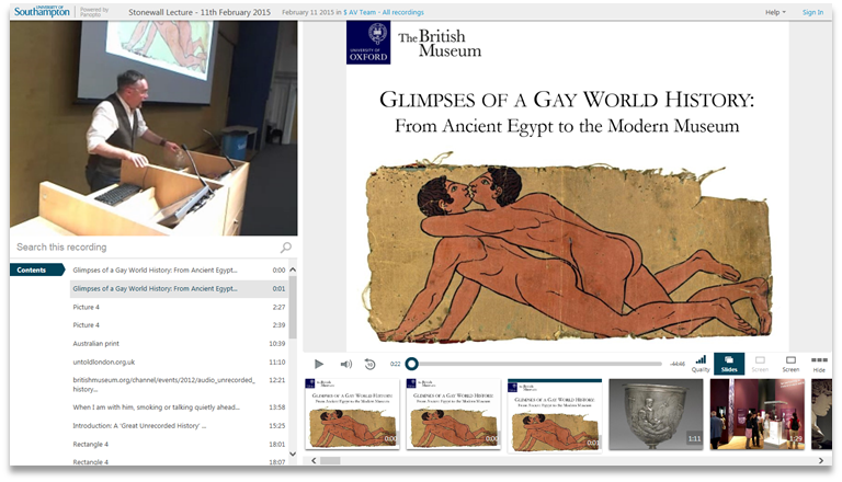 Glimpses of a Gay World History - Panopto Video Presentation Platform