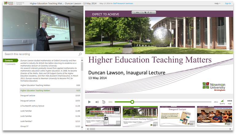 Higher Ed Teaching Matters - Panopto Video Presentation Platform