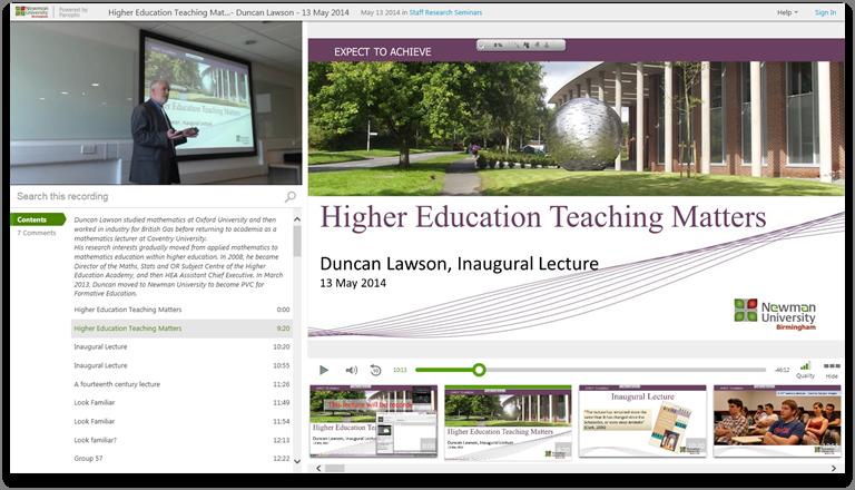 Higher Ed Teaching Matters - Panopto Video-Präsentationsplattform