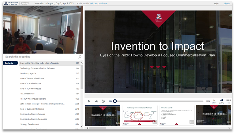 Innovation to Impact - Panopto Video Presentation Platform