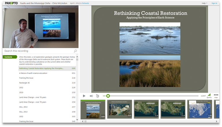 Rethinking Coastal Restoration - Panopto Video Presentation Platform