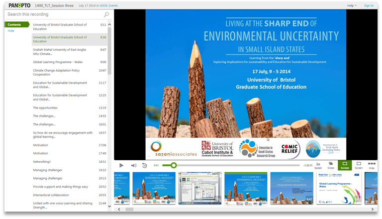 Sharp End of Environmental Uncertainty - Panopto Video Presentation Platform