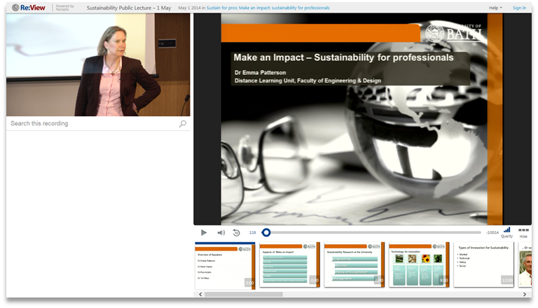 Sustainability for Professionals - Panopto Video Presentation Platform