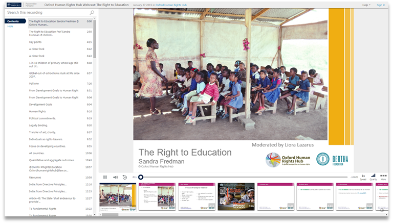 The Right to Education - Panopto Video Presentation Platform