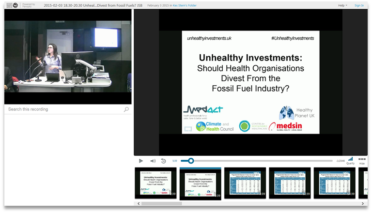 Unhealthy Investments - Panopto Video Presentation Platform