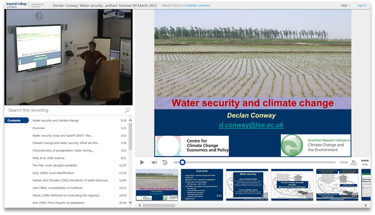 Water Security and Climate Change - Panopto Video Presentation Platform
