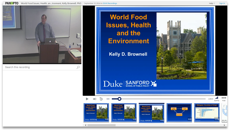 World Food Issues Health and Environment - Panopto Video Presentation Platform