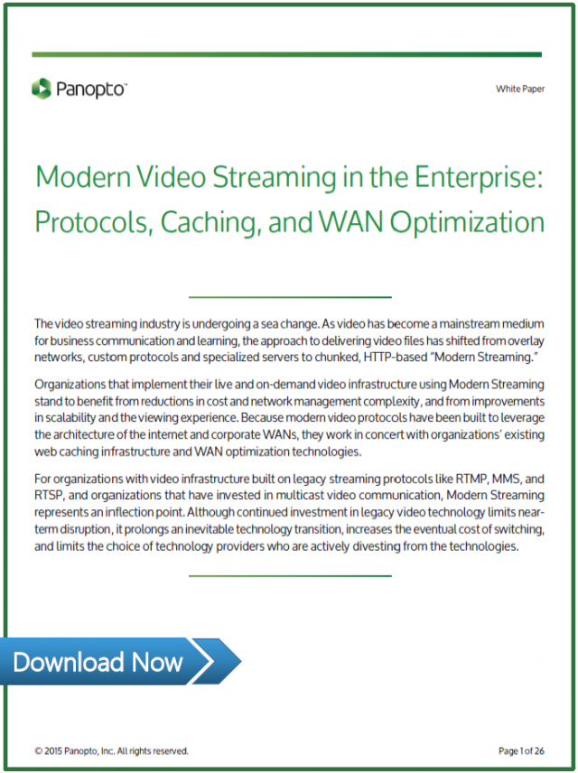 Video streaming white paper - Panopto