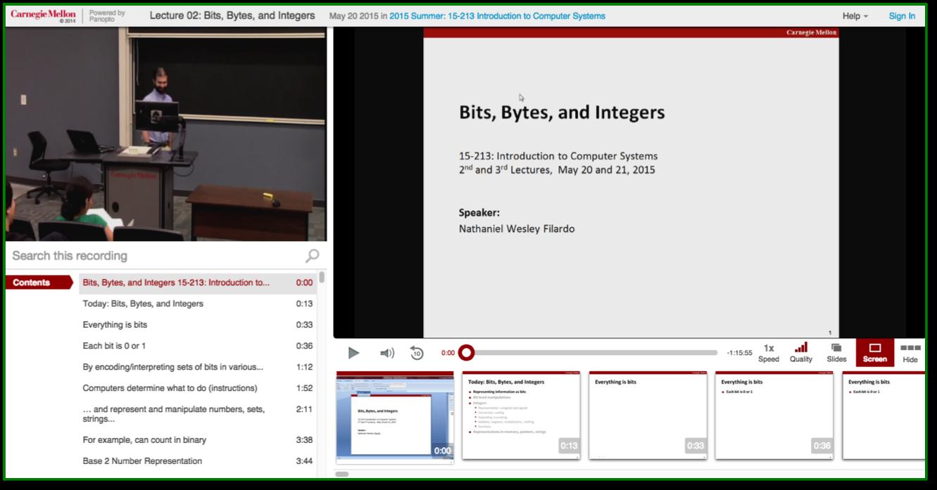 Bits Bytes Integers - Panopto Lecture Capture Platform