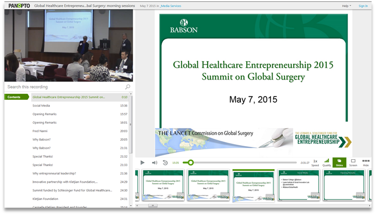 Global Healthcare Entrepreneurship - Panopto Video Presentation Platform