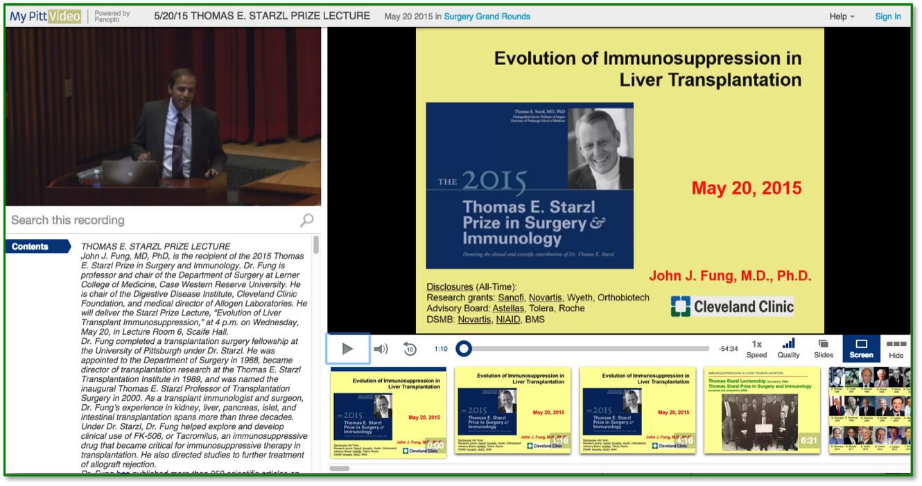 Immunosuppression in Liver Transplantation - Panopto Video Presentation Platform