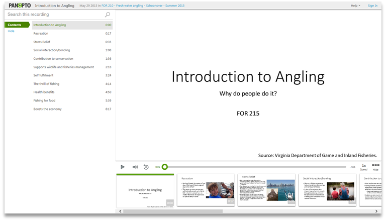 Intro to Angling - Panopto Video Presentation Platform