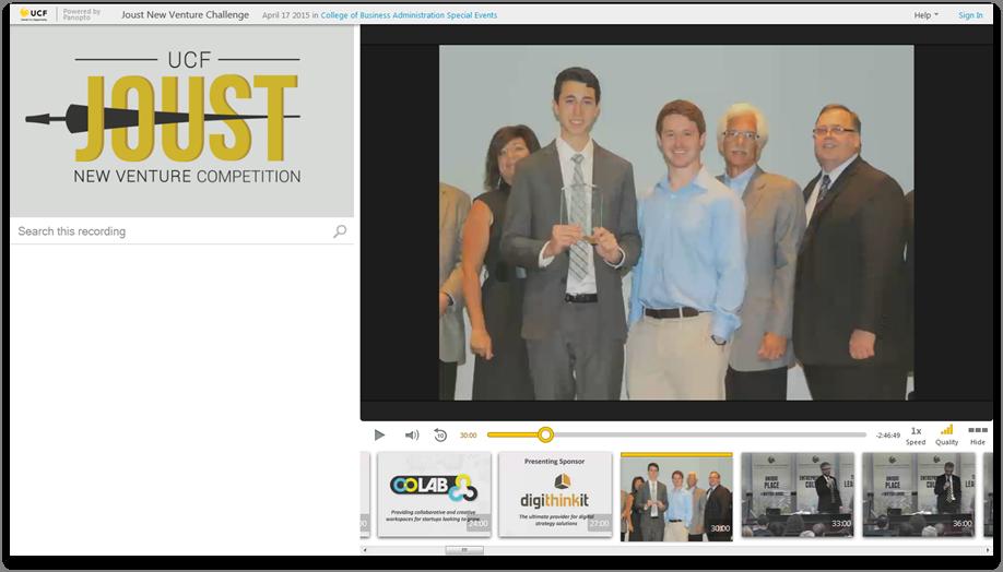 Concours Joust New Venture - Plateforme de présentation vidéo Panopto