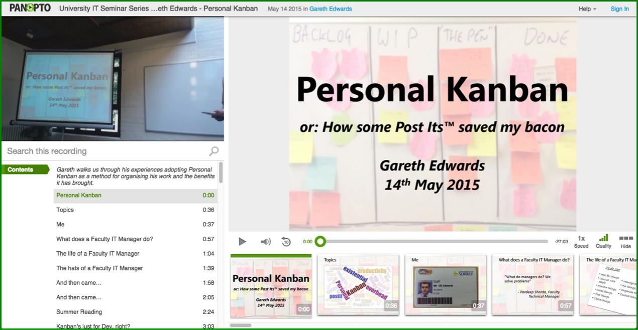 Personal Kanban - Panopto Video Platform