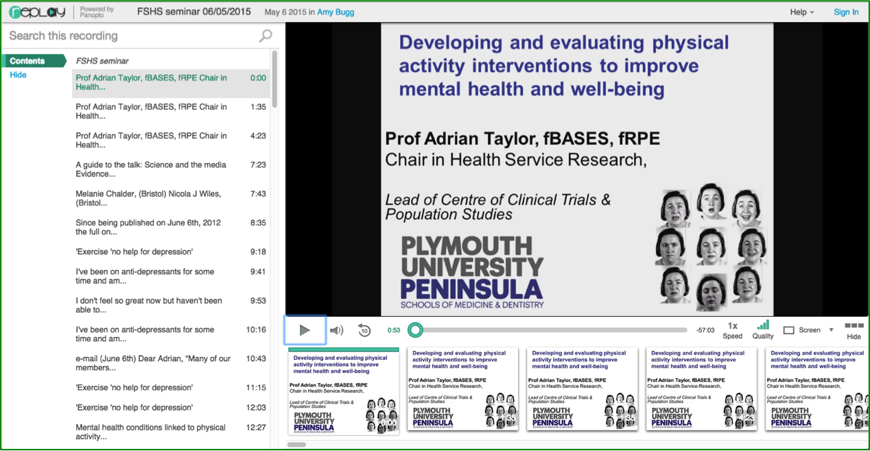 Physical Activity Interventions - Panopto Video Platform