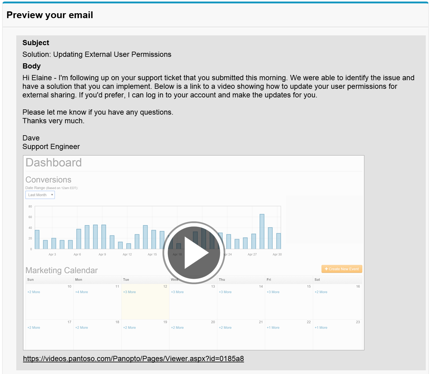 Salesforce Integration - Email Preview