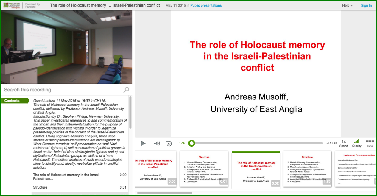 The Role of Holocaust Memory - Panopto Video Presentation Platform
