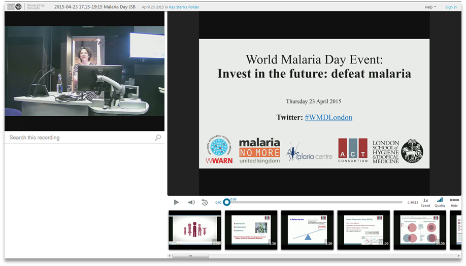 World Malaria Day - Panopto Video Presentation Platform