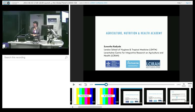 농업, 영양 및 건강 아카데미-Panopto 비디오 프레젠테이션 플랫폼