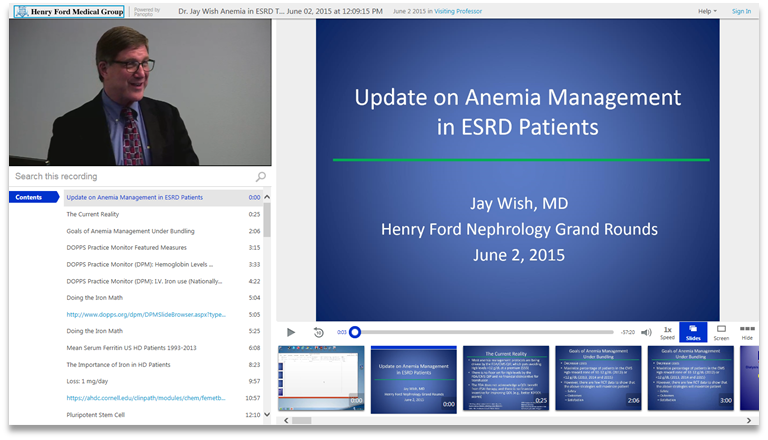 Anemia Management in ESRD Patients - Panopto Video Presentation Platform
