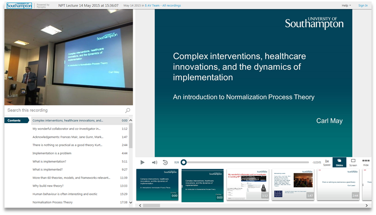 Complex Interventions Healthcare - Panopto Video Presentation Software