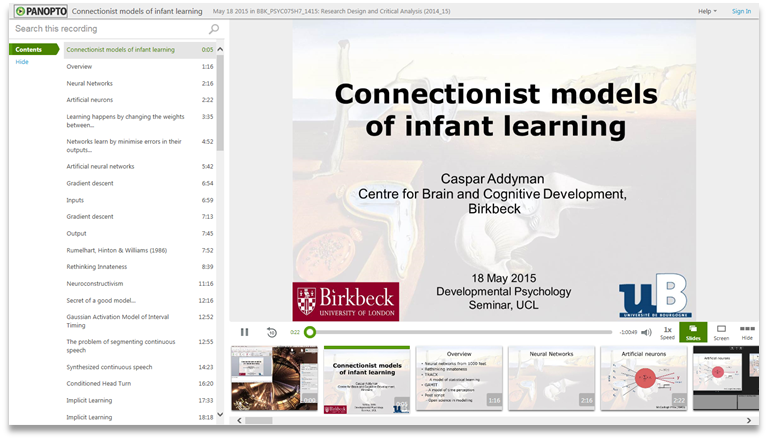 Connectionist Models in Infant Learning - Panopto Video Presentation Software