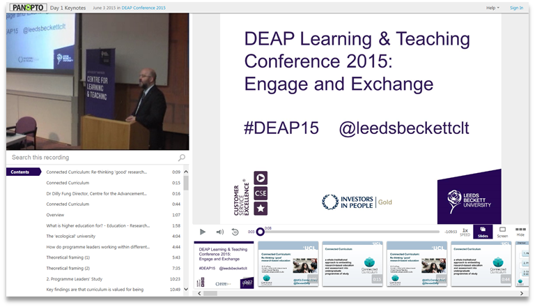 DEAP Learning - Panopto Video Presentation Platform