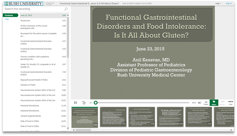 Functional Gastrointestinal Disorders and Gluten - Panopto Video Presentation Software
