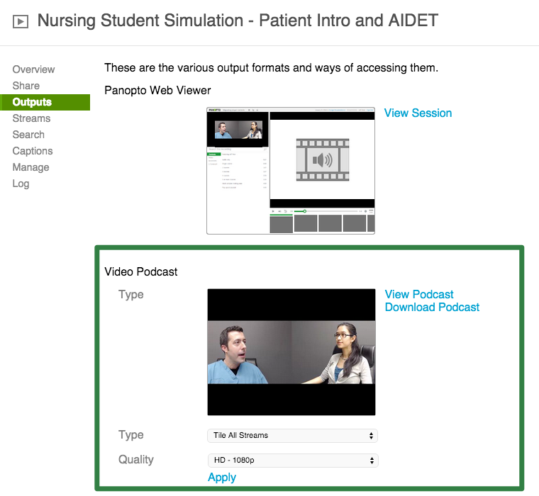 Healthcare Training Example - Settings - Panopto Video Platform