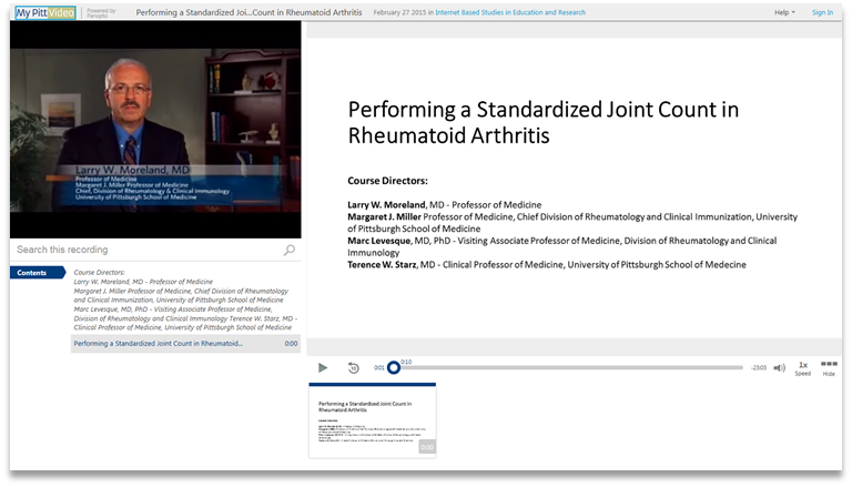 Joint Count in Rheumatoid Arthritis - Panopto Video Presentation Software