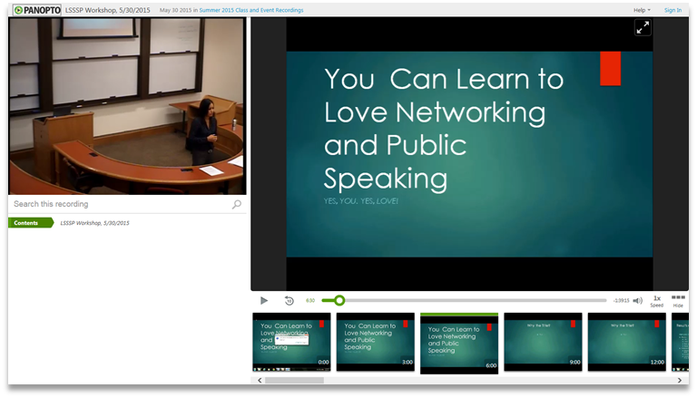 Learn to Love Networking - Panopto Video Presentation Platform