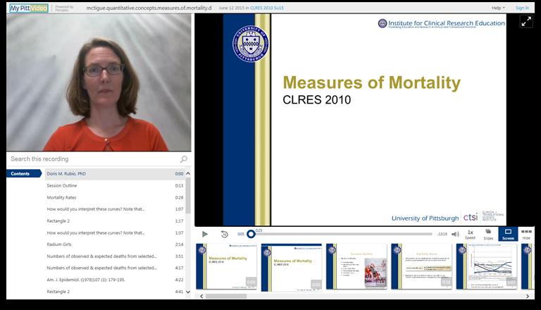 Mesures de la mortalité - Logiciel de présentation vidéo Panopto