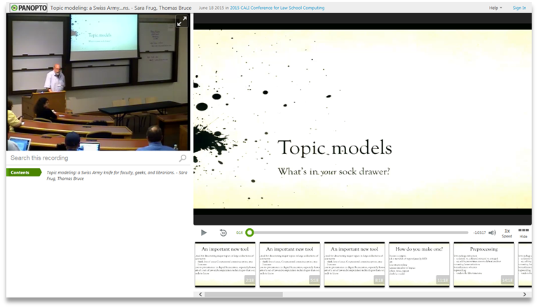 Topic Models - Panopto Video Presentation Software