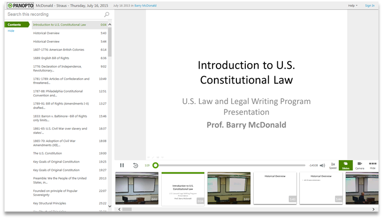 Constitutional Law - Panopto Video Presentation Software