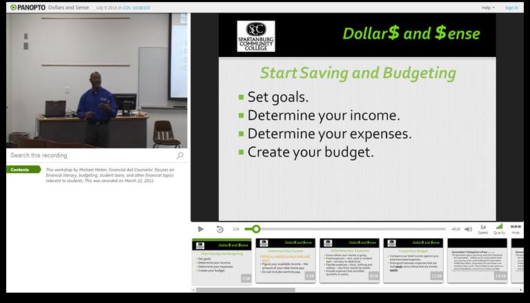 Dollars et Sense - Plateforme de présentations vidéo Panopto