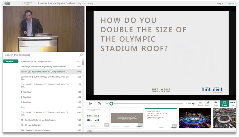 Double The Size of the Olympic Stadium Roof - Panopto Video Presentation Platform